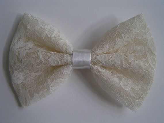 Ivory Lace Bow, hair bow, hairbow, bows bows,Bow For Hair, Fabric bow, bows for teens, big bow,bow for women