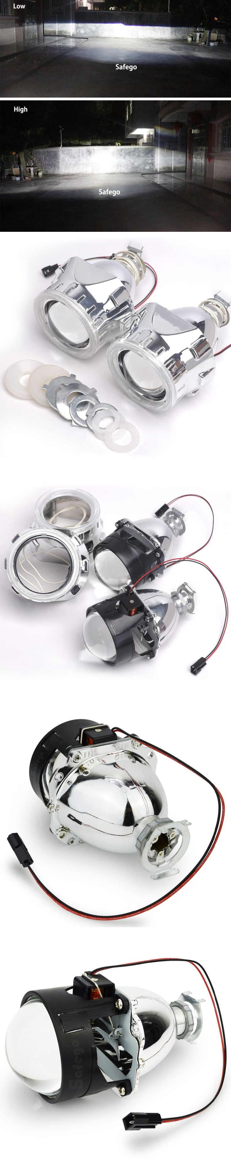 2.5 inch bixenon projector lens mask shroud with double angel eyes for car HID Headlight headlamp Projector Lens  for H1 H7 H4