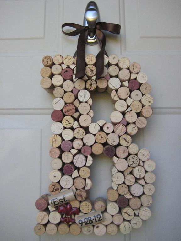 Whimsical Wine Cork Monogram Letter Initial Home Decor Mantle Or Wall Art 27 00 Via