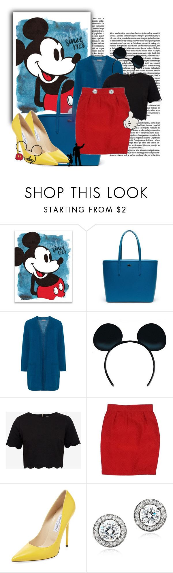 """""""Mickey Mouse"""" by melissaandjasperforever ❤ liked on Polyvore featuring Lacoste, Samoon, Ted Baker, Thierry Mugler, Jimmy Choo, Crislu and Anya Hindmarch"""