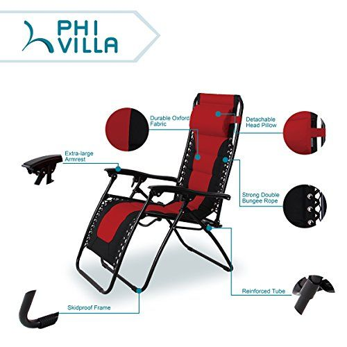 Lounge Chair Phi Villa Padded Zero Gravity Patio Foldable Adjule Reclining With Cup Holder For Outdoor Yard Loungechair