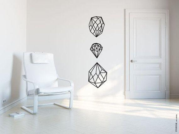 Scandinave design VINYL Decal, Wall Art sticker. Geometric art, gem facet. Geometric wall art, TangramArtworks. Modern, minimalistic, sober.