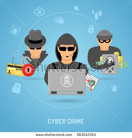 Cyber Crime Concept with Icon Set for Flyer, Poster, Web Site Like Hacker, Thief, Phishing and Safe.