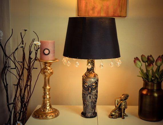 Owl Table lamp Table lamp  bedside lamp Bottle lamp by RishStudio