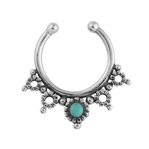 Beaded Disks Faux Septum Ring $19 #turquoise #sterlingsilver #fauxseptumring #septumring