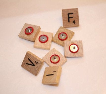 Letters of the Alphabet Scrabble, Scrabble Pins, ScrabbleThumb Tacks, Push Pins, Scrabble Push Pins,Scrabble Thumbtacks, Teacher Present
