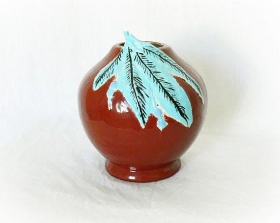 Vintage Southwestern Vase Planter Aqua Feathers at PaddywhackKnickKnack, $34.00