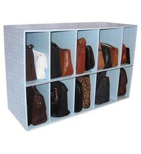 Save all your favorite purses from a cluttered closet and store them in this blue Park-A-Purse Organizer. Lightweight and sturdy this Park-A-Purse Organizer is ideal for organizing your growing handbag collection in a closet providing purse storage for guests displaying items for a garage sale or for use as a shoe rack $25.99