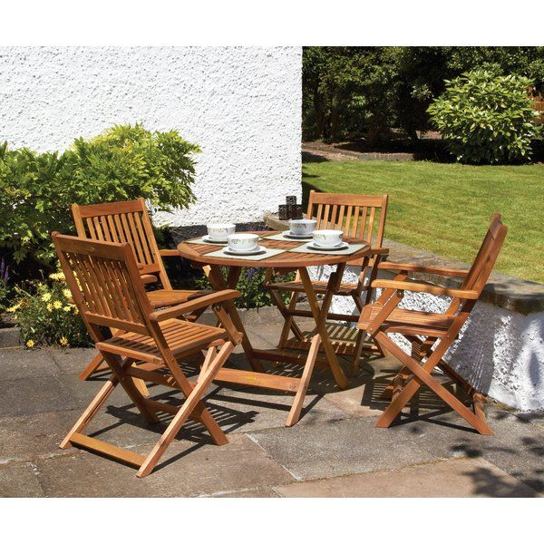 This 4 seater armchair dining set combines the natural elements of the wood with the comfort of the armchairs for additional support. Consisting of a round, folding table and 4 Manhattan armchairs it is perfect for folding away for easy storage. Acacia hardwood is perfect for creating high quality furniture due to its warm tones and natural beauty. The acacia tree grows very slowly which makes the wood incredibly hard and durable allowing the furniture to be used for many years. Perfect for…