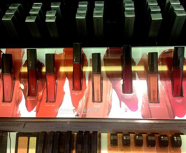 Laura Mercier Peinture échantillons lessive liquide Lip Colour partir de la gauche: Pétale Rose, Rouge Brique, Coral Reef, rouge vermillon, Golden Peach, Fuchsia Mauve, Nude Rose et rose orchidée