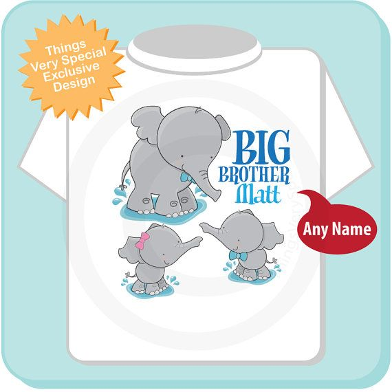 Is your little boy about to become the big brother to a set of twins that are boy and girl? This cute little tee shirt or Onesie is the perfect way to make him proud to be a big brother. Showing cute little elephants with a bow on the baby girl and bow ties on the boys it's sure to have people congratulating him on his new siblings.