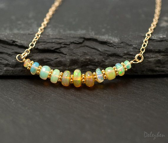 Ethiopian Opal Necklace - October Birthstone - Opal Pandent - Gold Necklace - Cabochon Stone - Small Opal wire wrapped Necklace