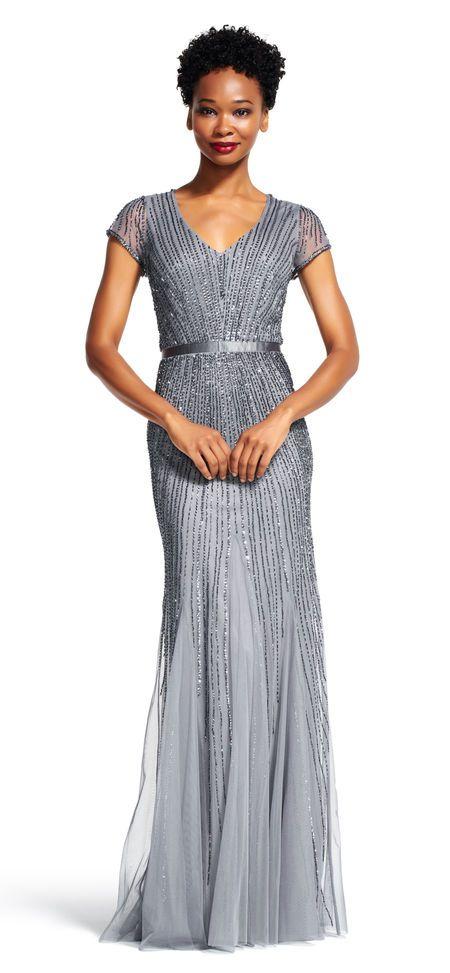 Adrianna Papell | Sheer Short Sleeve Godet Dress with Line Beading