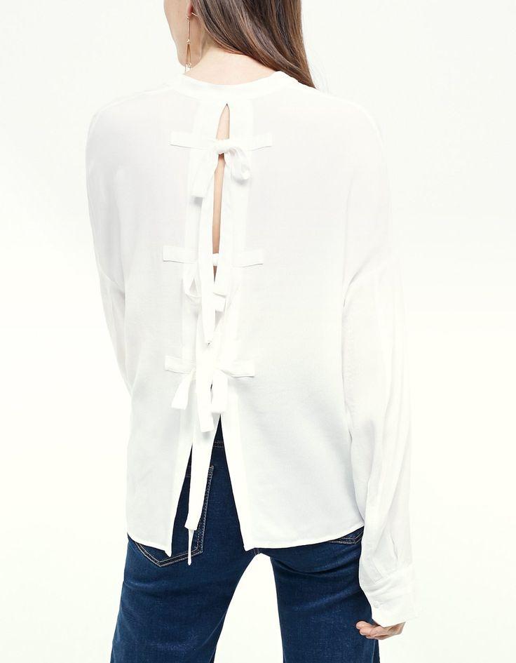 Grandad collar shirt with back tie detail - Clothing | Stradivarius Indonesia