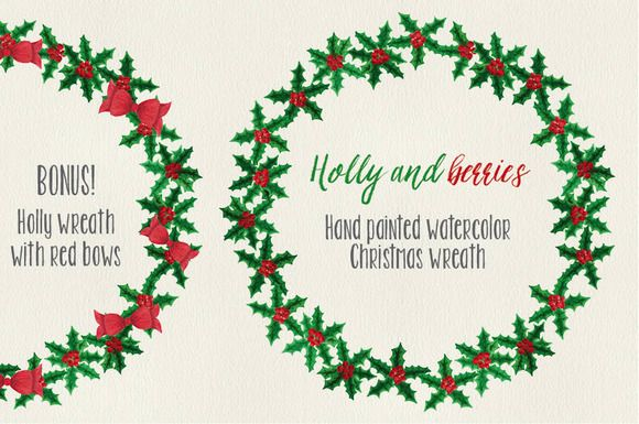 Christmas watercolor wreath: Holly by Lolly's Lane Shoppe on Creative Market