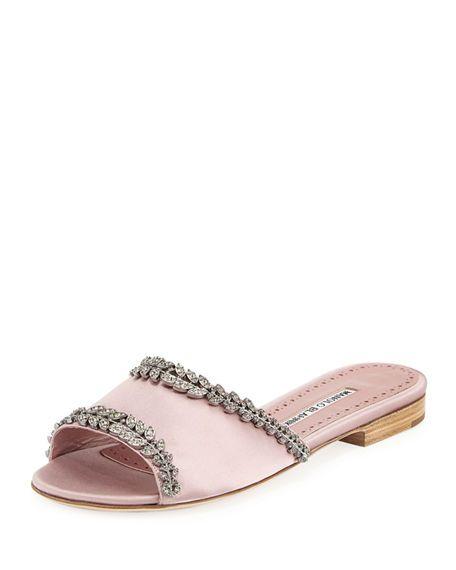 dab42f6076232 Triunslo Embellished Satin Flat Slide Sandal   Shoes w 2019 ...