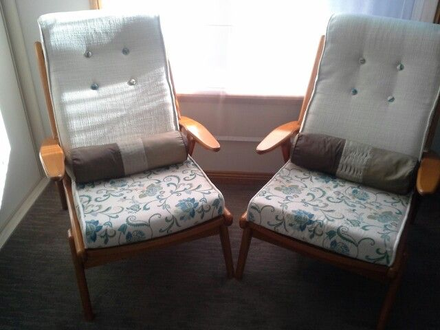 Reupholstered vintage chairs.