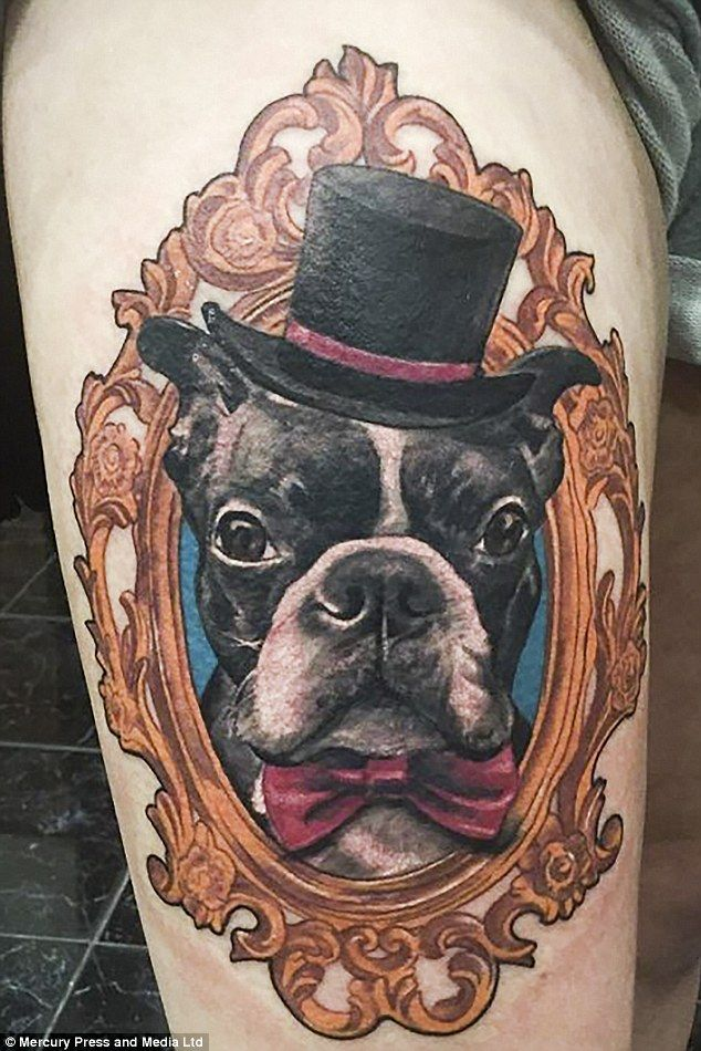 The 25-year-old loves her Boston Terrier Ziggy so much, she has his face tattooed on her leg