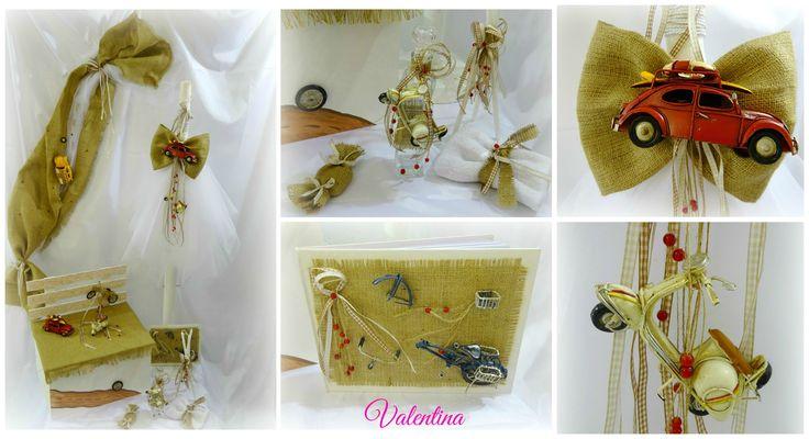 ΣΕΤ Βαπτιστικών με Θέμα Vintage: vespa - scarabeo διακοσμημένο με λινάτσα και καρό κορδέλες!!!