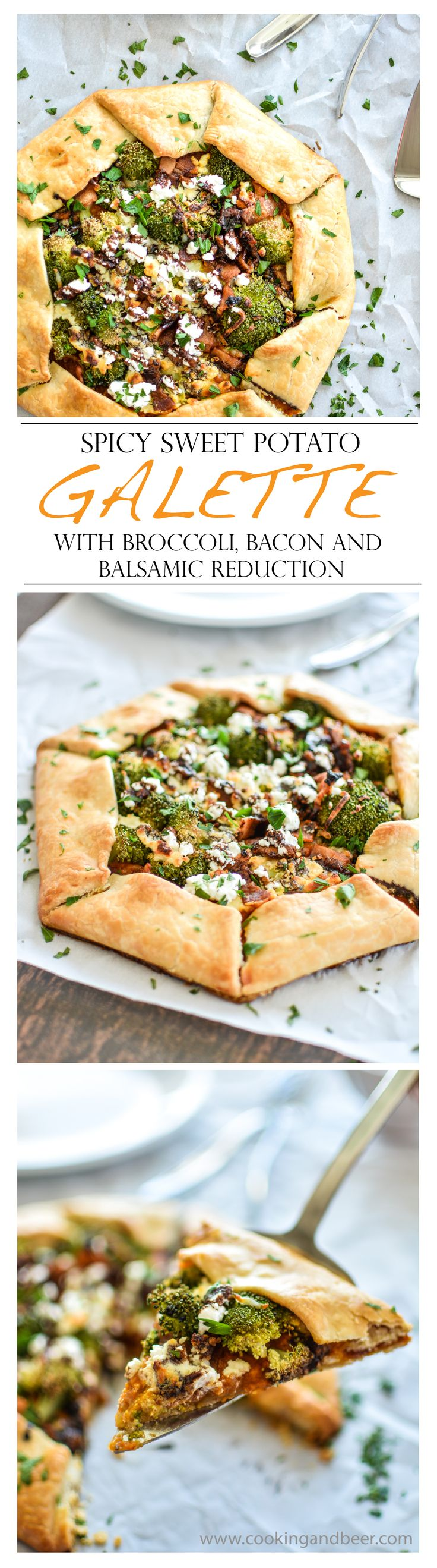 Spicy Sweet Potato Galette with Broccoli, Bacon and Balsamic Reduction | www.cookingandbeer.com | @jalanesulia
