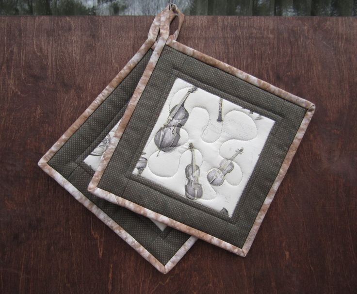 """Quilted Potholders """"Musical Instruments"""" Quilted Hot Pads, Fabric Trivet, Quiltsy Handmade, by ISewTotes on Etsy"""
