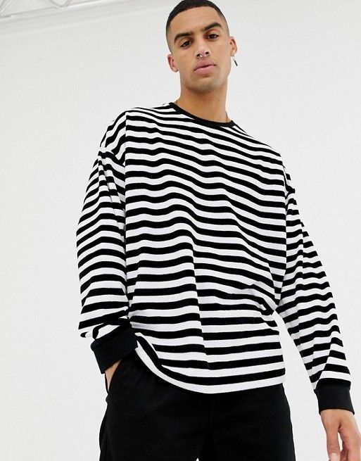b5e538189aaf20 ASOS DESIGN oversized velour striped long sleeve t-shirt in black and white