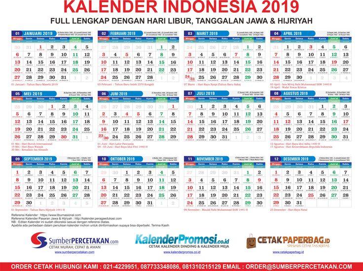Download Kalender 2019 Lengkap Tanggalan Jawa, Hijriyah dan Libur Nasional - Percetakan Murah ...
