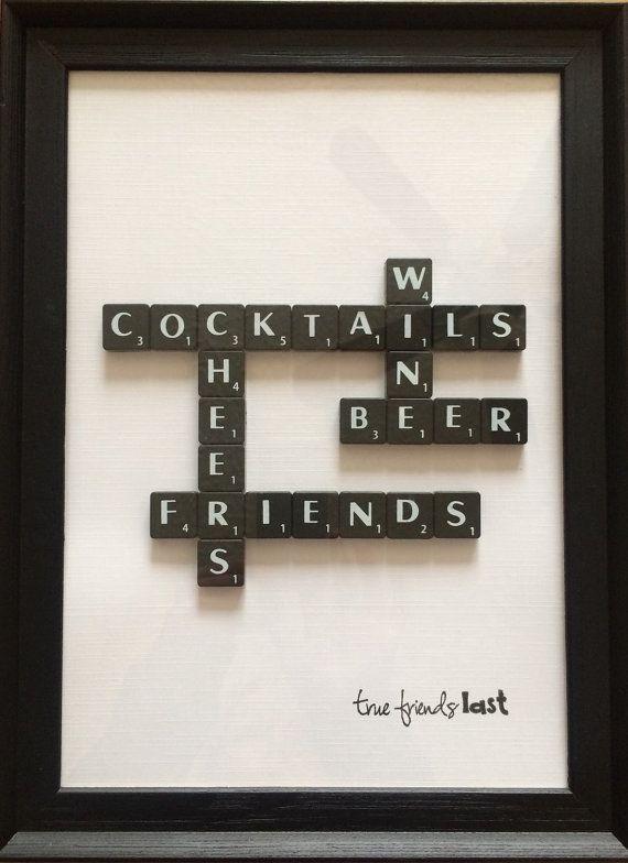 Friends/Drinks Scrabble Frame by ArchieandJoe on Etsy