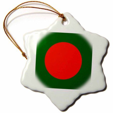3dRose Photo Of Bangladesh Flag Button, Snowflake Ornament, Porcelain, 3-inch