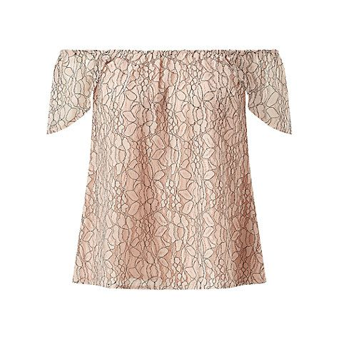 Buy Miss Selfridge Lace Bardot Top, Nude Online at johnlewis.com size 10