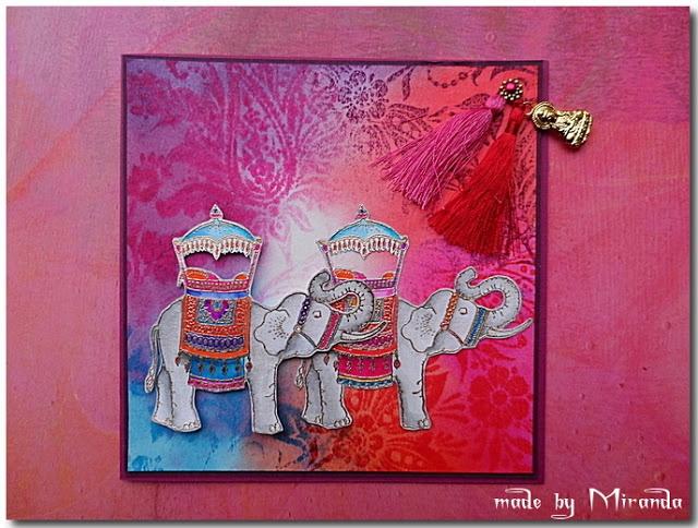 éléphant fond rouge