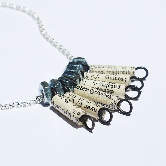 Paper Bead Jewelry French Dictionary Paper Bead & Silver by Tanith on Etsy  $30.00