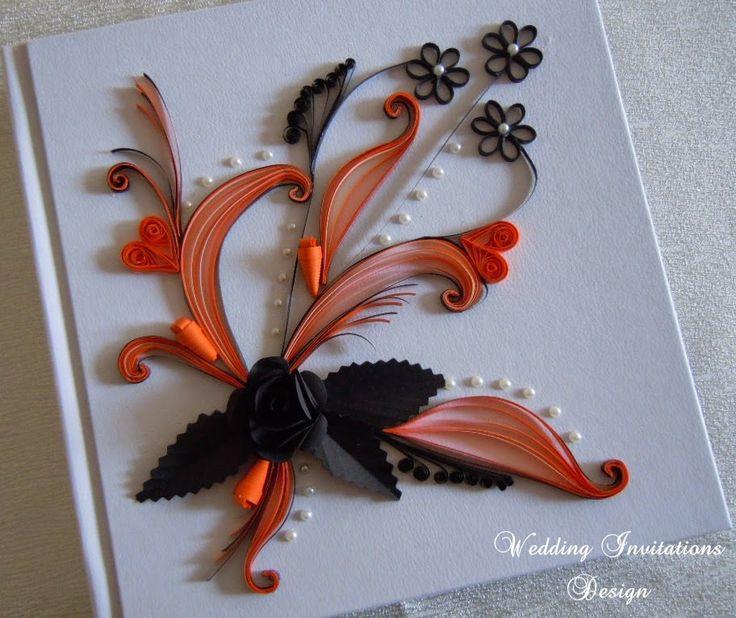 Black and orange photo album/Quilling photo album