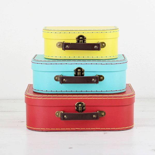 We Love To Create Set Of Three Colourful Retro Suitcase Storage Boxes (£25)  ❤ Liked On Polyvore Featuring Home, Home Decor, Small Item Storage, Colu2026