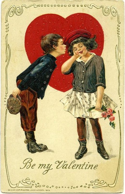 cute vintage valentine--and i love her outfit! (circa 1913)