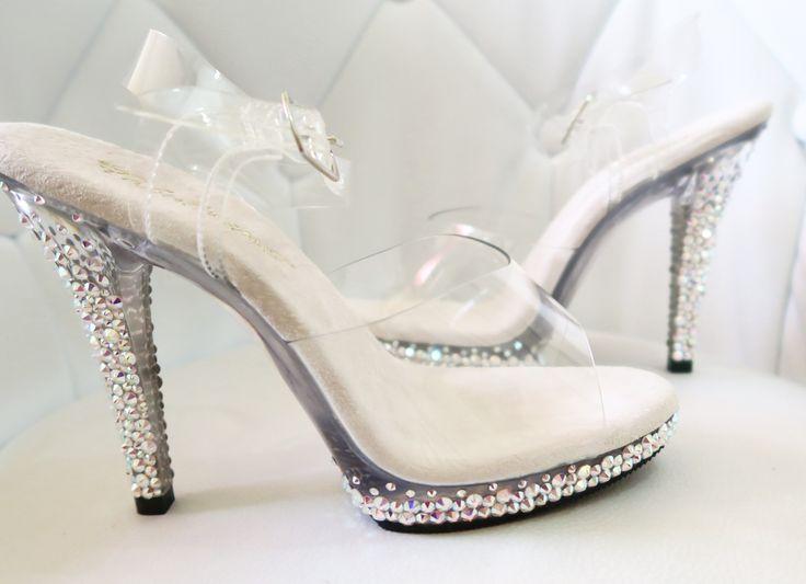 Clear bikini posing heels shoes figure competitor bodybuilding competition npc ifbb wnbf ifpa custom Swarovski crystals for sale