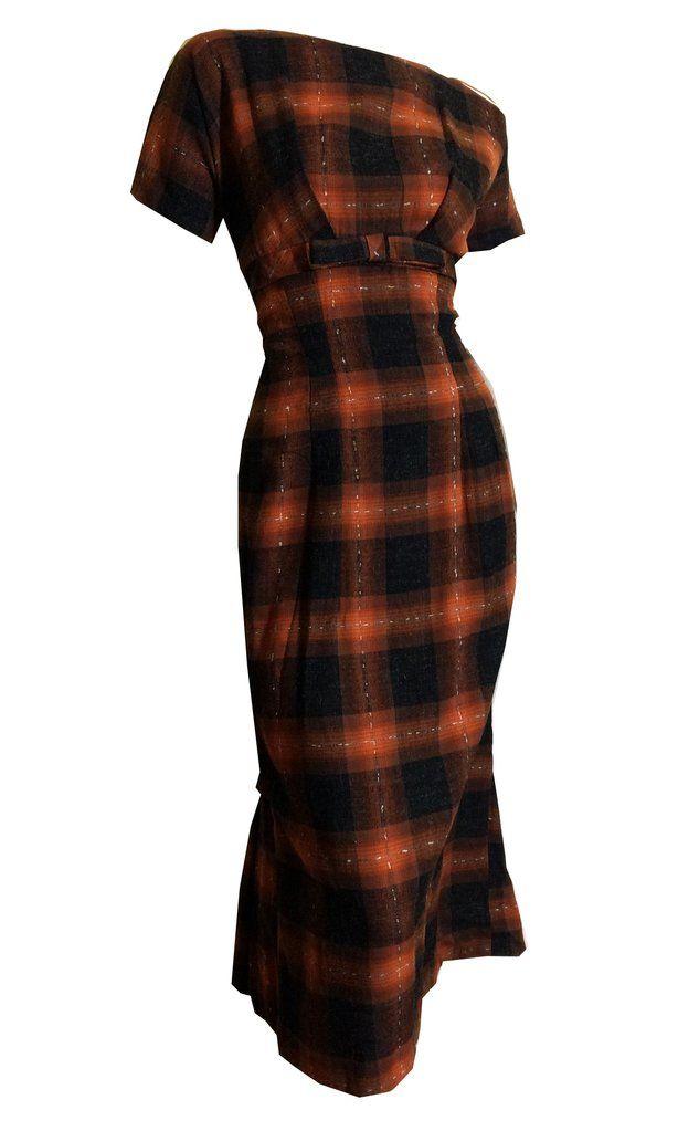 1b503f97457 Curvy Cutie! Body Conscious Cinnamon Plaid Wool Dress with Bows ...