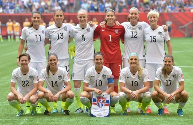 The starting XI vs. Japan, July 5, 2015. Ali Krieger, Alex Morgan, Becky Sauerbrunn, Hope Solo, Lauren Holiday, Megan Rapinoe, Meghan Klingeberg, Morgan Brian, Carli Lloyd, Julie Johnston, Tobin Heath. (U.S. Soccer)