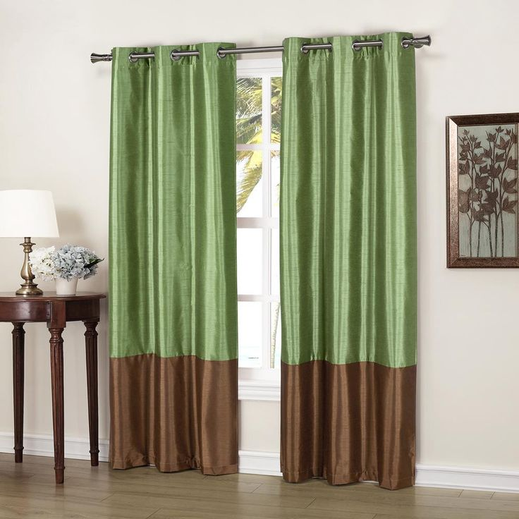 Duck River Bridgette 37 in. x 84 in. L Polyester Faux Silk Curtain Panel in Sage-Chocolate (2-Pack)