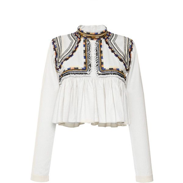 Isabel Marant Embroidered Cotton Twill Sachi Top found on Polyvore featuring tops, crop top, white embroidered top, long sleeve ruffle top, flutter top and long sleeve tops