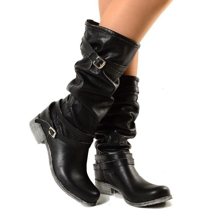 Stivali Alti Donna Camperos Boots in Vera Pelle Nera