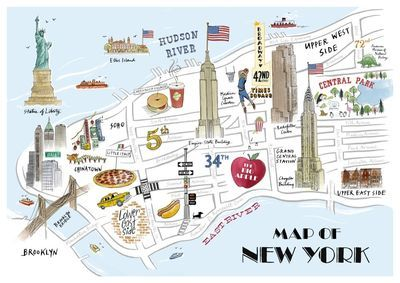 Map of New York illustrated art  (not from Etsy though, alicetaitshop.com)