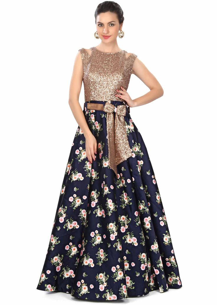 Kalki Fashion Navy Bue Gown Features in Sequin and Floral Print  @Looksgud.in #KalkiFashion, #Floral, #PartyWear, #NavyBlue