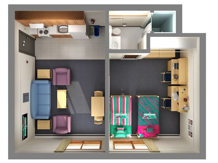 Home design apt floor plans for two student shared three for 3d bedroom planner