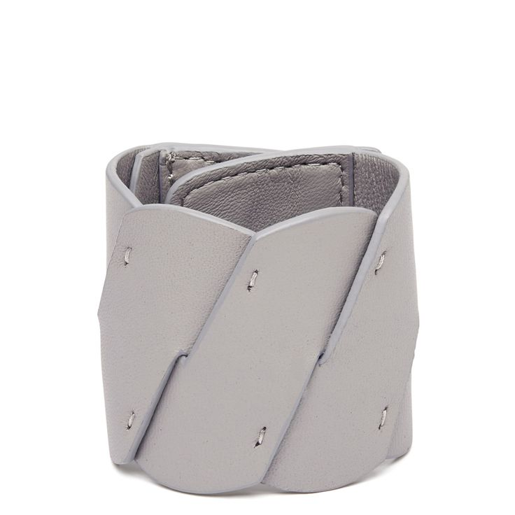 HARLEQUIN BELLE Diagonal Cuff in Grey // The cuff is all leather, woven and fastened with 4 gunmetal press studs. Adjustable fitting // SHOP at https://cliquearcade.com.au/brands/84-harlequin-belle/1378-diagonal-cuff-grey