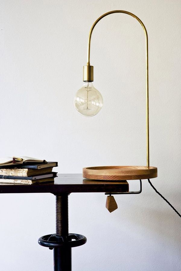 B L O O D A N D C H A M P A G N E » INSPIRATION #372 table lamp, wood brass edison bulb.