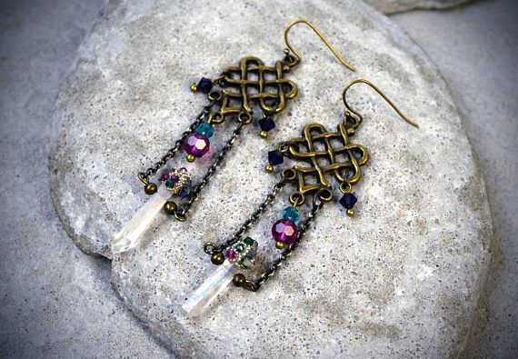 Hey, I found this really awesome Etsy listing at https://www.etsy.com/au/listing/531798069/raw-crystal-earrings-celtic-earrings