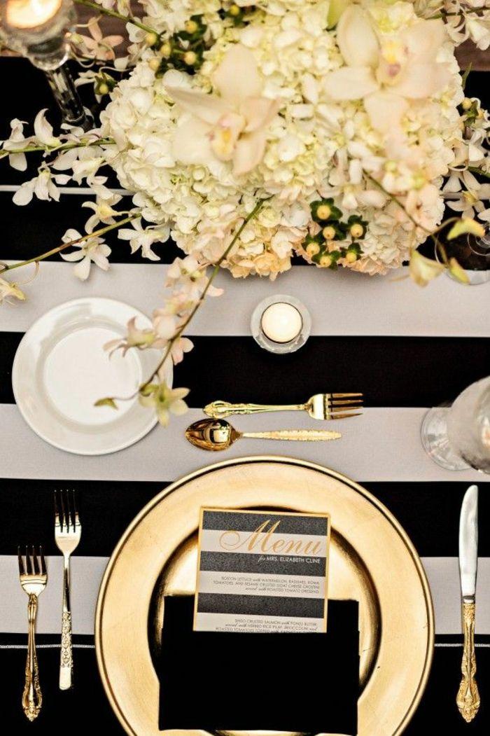 tischdekoration hochzeit streifen schwarz weiß goldteller besteck
