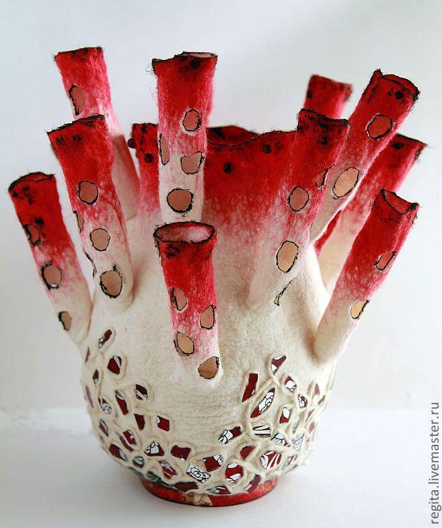 Купить Светильник валяный Актиния красная. - подарок, светилькик, освещение…
