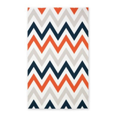 orange, Gray, Navy chevrons 3'x5' Area Rug Love it but I'm not sure the hubby would go for it.